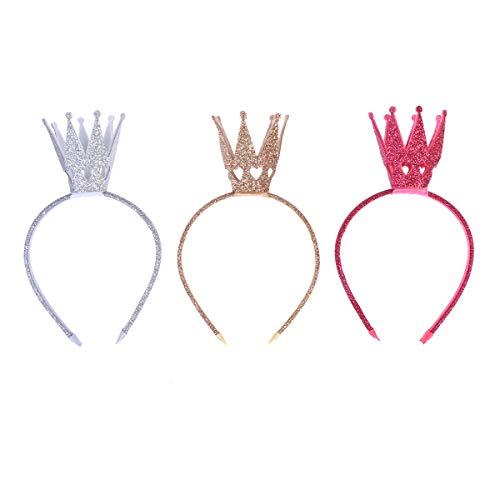 YeahiBaby Prinzessin Krone Haarreif Glitter Haarschleife Baby Geburtstag Party Tiara 3 Stück