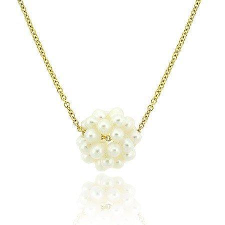 Gold ton über Sterling Silber Echte Süßwasser Zuchtperlen weiß Perle Kette Anhänger Halskette 45,7cm