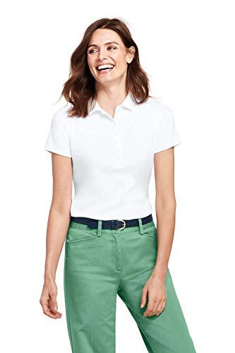 Lands' End Poloshirt, Kurzarm für Damen Weiß XL