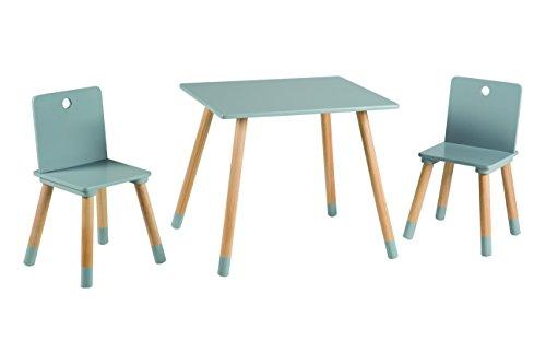 roba Kinder Sitzgruppe, Kindermöbel Set aus 2 Kinderstühlen & 1 Tisch, Sitzgarnitur Holz, grau lackiert