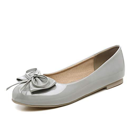 Mocassini da Balletto da Donna Mocassini con Punta Arrotondata su comode Scarpe da Guida in Pelle Verniciata Bowknot