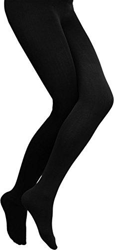 normani 3 × Damen Thermo Strumpfhose flauschig warm mit Innenflanell in 3 Farben Farbe Schwarz Größe 36-38 -