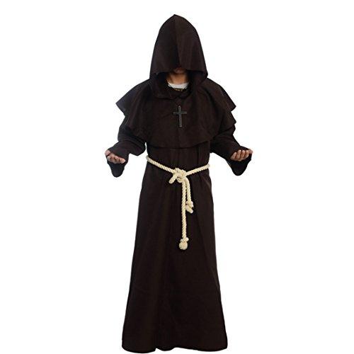 BLESSUME Priester Robe Mönch Mittelalterliche Kapuze Kapuzenmönch Renaissance Robe Kostüm (Schwarz) (Priester Kostüm Uk)