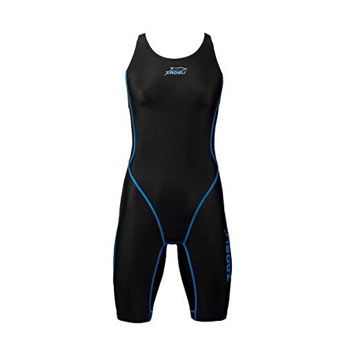 ZAOSU Wettkampf-Schwimmanzug Z-Black - Badeanzug für Mädchen und Damen, Größe:176/36, Farbe:schwarz/blau