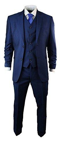 Neue 2-knopf Herren Anzug (Herrenanzug Blau Tonik 3 Teilig Kurz Regular Lang Ausführung Hochzeit Party)