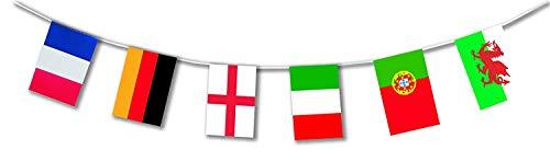 5m Outdoor-Wimpelkette * LÄNDER DER Welt * als Deko für Länder- und Firmen-Events | Lange haltbar aus Plastik hergestellt | Hochwertige Flaggen-Dekoration für Unternehmen, Partys & Reise-Fans (Land Flagge Banner)