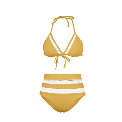 DIPOLA Sexy Zweiteiliger Bikini mit hoher Taille und Mesh-Nähten für Frauen Zweiteiliger Bikini mit hoher Taille und gefülltem Badeanzug aus solidem Patchwork-Mesh sexy Bikini sexy top Swimsuits
