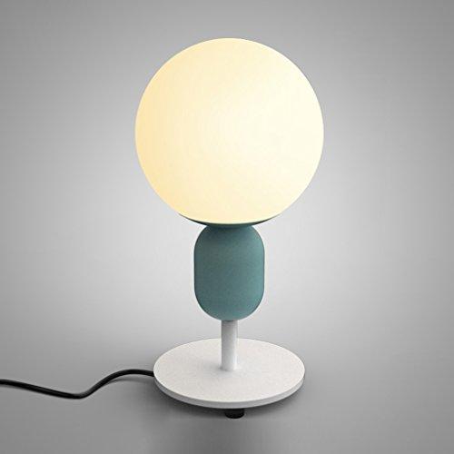 TangMengYun Einfache led tischlampe nordic kreative ball augenschutz neben lampe dekorative leuchten arbeitszimmer wohnzimmer schreibtischlampe (Color : Water blue-10 * 25cm) -