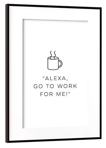 artboxONE Poster mit Rahmen Schwarz (Metallic) 75x50 cm Alexa, Please! von Cristina Castro Moral - gerahmtes Poster