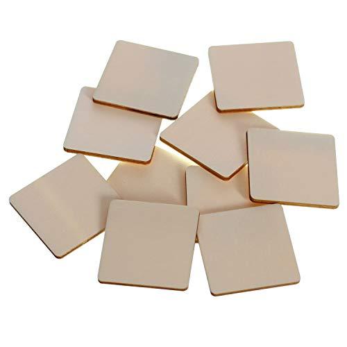 Holz Quadrate Holzscheiben - 1x1-60x60cm Streudeko Basteln Deko Tischdeko, Pack mit:10 Stück, Höhe x Breite:9x9cm