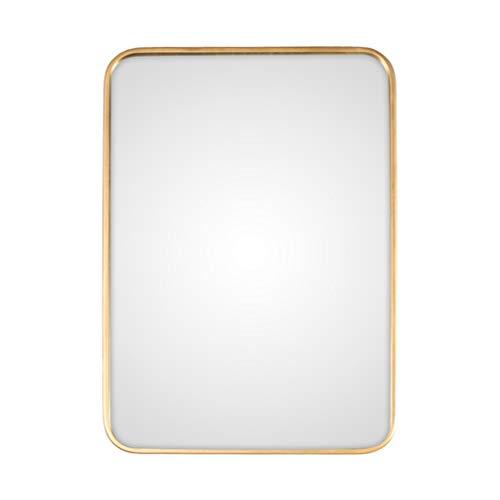 Waschraum-Zubehör Moderner Nordic Metall Wandspiegel für Badezimmer Wohnzimmer Glasscheibe Gold gerundet abgerundete Ecke Design | Gespiegeltes Rechteck hängt horizontal oder vertikal