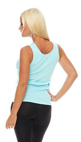 Hochwertiges Damen Träger-Top mit großer Spitze Nr. 416 (Oberteil / Unterhemd / Träger-Shirt) 100% Baumwolle ( Türkis / 56/58 ) - 3