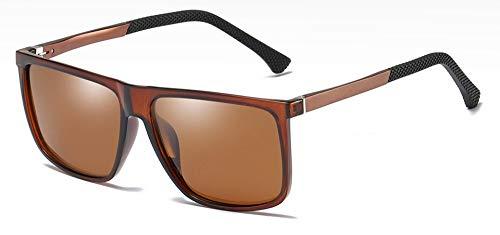 Sonnenbrille Männer, Rechteckige Sonnenbrille Braun Polarisiert Matt Schwarz Mode Sonnenbrillen Für Männer Silber Uv400 Braun Rückspiegel