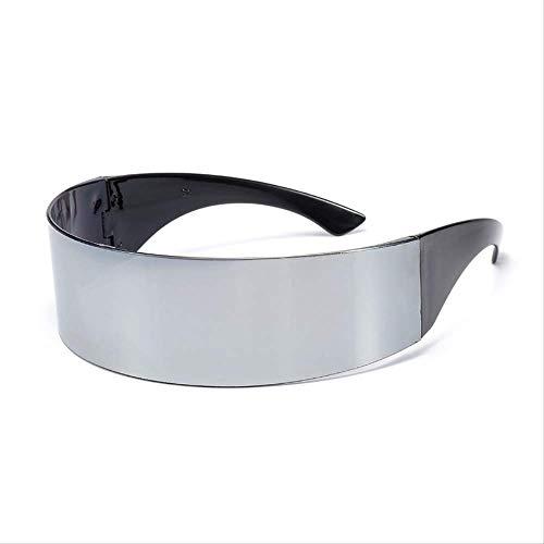 JU DA Sonnenbrillen Lustige Futuristische Wrap Um Monob Kostüm Sonnenbrille Maske Neuheit Gläser Halloween Party Party Liefert Dekoration silber