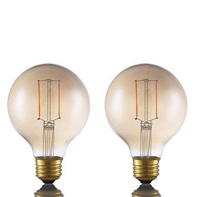 HZZymj-2W E26 Bombillas de Filamento LED G80 2 COB 180 lm Ámbar Regulable AC 110-130 V 2 piezas