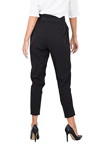 ASCHOEN Elegant Damen Hosen Chiffon High Waist Stretch Skinny Hosen Pants Streetwear Hosen mit Tunnelzug Schwarz