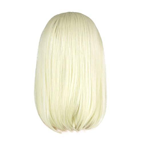 Koojawind Frauen Gold Kurze Bob Haar Gerade NatüRlichen Stil PerüCke Lace Front PerüCke Cosplay, WeißE Blonde PerüCke Gerade Kurze Lace Front PerüCke Synthetische PerüCken (14 Zoll)
