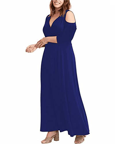 ABYOXI Damen Plus Größen 3/4 Ärmel Trägerloses Reizvolles Festes Trägerlose Schulter V Ausschnitt Lang Kleid Abendkleid Große Größen Long Sleeve Blue DE 50 - Long Sleeve Damen Kleid