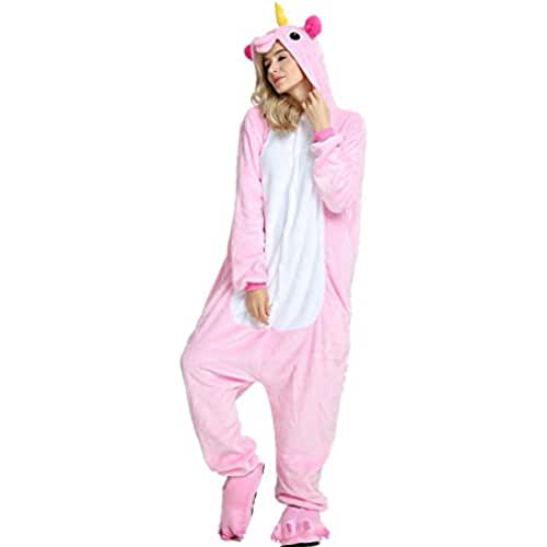 Missley Adulto Unisex Flanela Unicornio Cartoon Animal Novedad Halloween Pijama Cosplay (S, Pink)