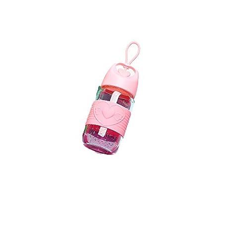 Neue Glasschalen-Handtasche Bewegliche wasserdichte Schale mit Abdeckungs-Filter-Teecup-Frauen-kreativer Art und Weise netter Schale ( Color : Pink )