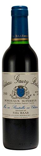 Bordeaux-Suprieur-1990-Frankreich-Merlot-Rotwein-Blend-Trocken-Jahrgangswein-Kleine-Flasche-375ml