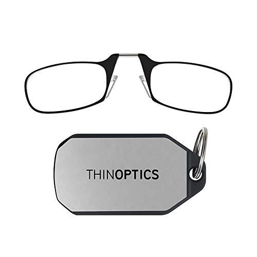 ThinOptics-Lesebrillen als Schlüsselanhänger. Schwarzer Rahmen, Stärke 2,00