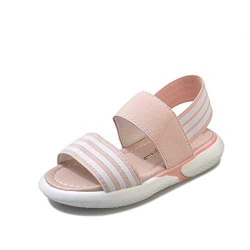 Mymyguoe Mode Strandschuhe für Mädchen Kinder Casual Sandaletten mit Schnalle Rutschfest Retro Bohemia Badeschuhe Atmungsaktiv Flacher Mund Slip-On Gummizug Verband ()