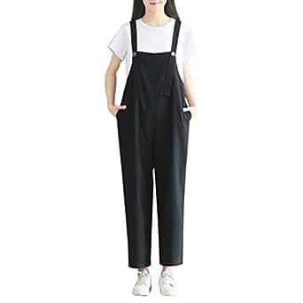 84c36dbff541 Wolfleague Salopettes pour Femmes Coton Grande Taille Noir en Vrac  Combinaison Femme Pantalons à Bretelles Casual Pantalon Baggy avec Poche M  ~ XXXL