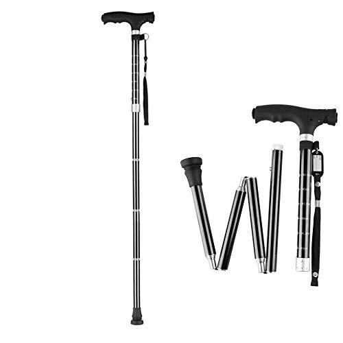 ZUCAI Praktikabilität Gehstock Faltstock Männer und Frauen Aluminiumrohr verstellbare LED-Licht ergonomischen Griff 6 höhenverstellbare Behinderte und ältere Zuckerrohr Gute Qualität -