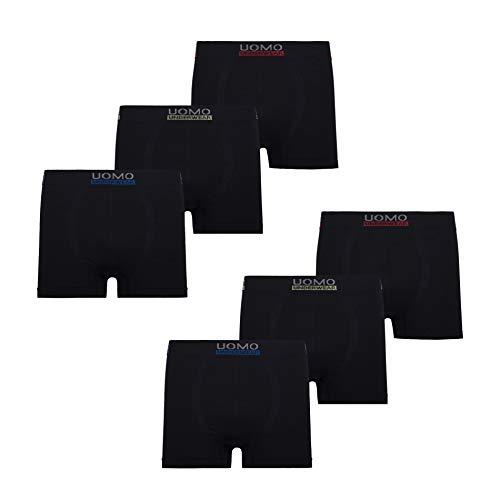 UOMO Herren Boxershorts Retroshorts Unterhose 6er Pack Mikrofaser Schwarz Neon Blade Eagle, XXXL, 6X Schwarz