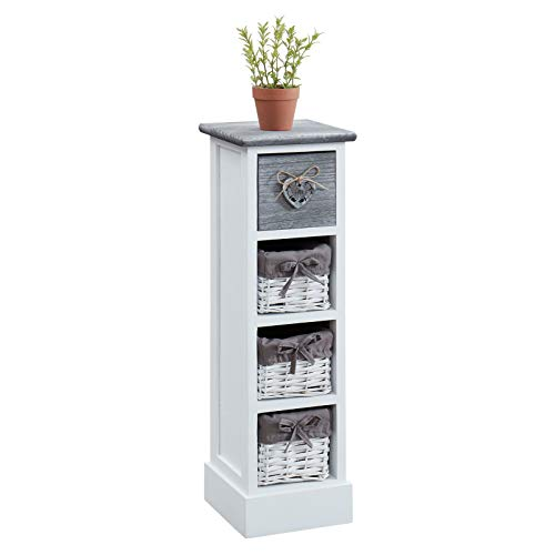 CARO-Möbel Kommode Flower Schubladenregal Standregal Kommode in weiß, Shabby Chic Vintage Look, mit 1 Schublade und 3 Körben