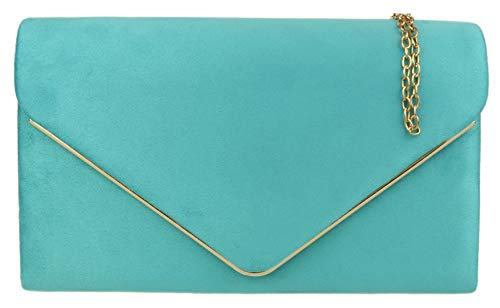 Girly HandBags Faux Wildleder Clutch Bag Umschlag Metallic Frame Plain Design Abend Turquoise