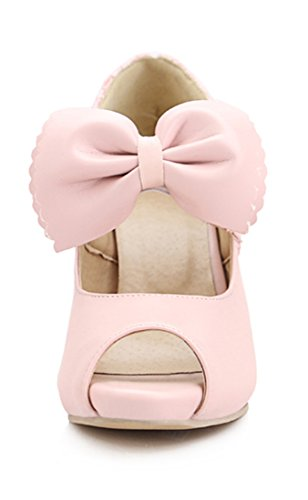 Peeptoe Elegant Party Ye Schuhe Süße Schleife Rosa Heels 10cm Absatz Mit High Plateau Pumps Damen 4IIwUPqcR