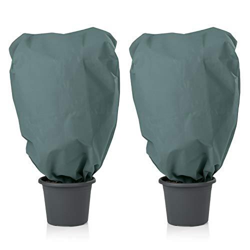 PRIMA GARDEN Pflanzen Schutzhaube Vlies | Sehr Dickes Material | 2 Kordelzüge | Frostschutz und Winterschutz für Kübelpflanzen (L, Grün)