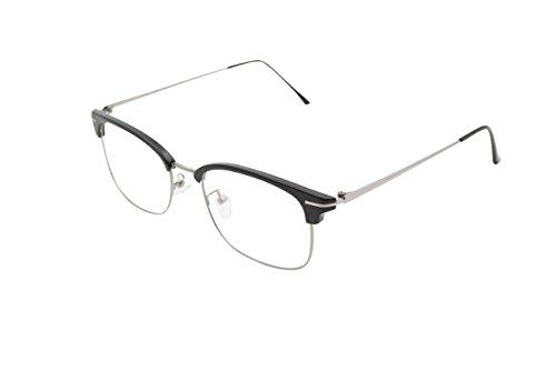 XYAS Halbrahmen Herren Dmen Unsix Metall Lesebrille klare linse Wechselgläser Hornbrille(Schwarz)