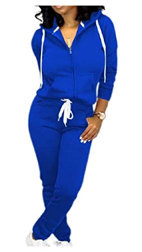 Juicy Couture Velour Zip (Energy Women's Casual Hooded Full-Zip Pockets Tops Jackets and Sweatpants Outfit Blue XS)
