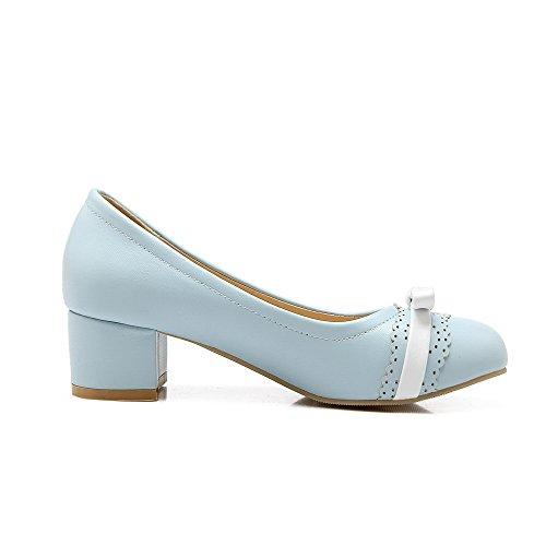 AgooLar Damen Spitz Zehe Niedriger Absatz Weiches Material Rein Ziehen auf Pumps Schuhe, Weiß, 33