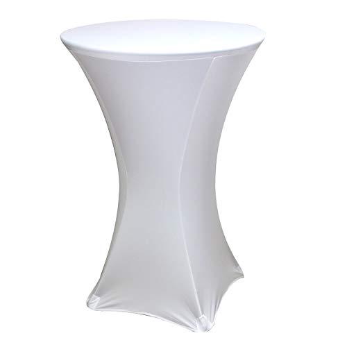 Trimming Shop Weiß Rund Spandex Lycra Tischdecke Dehnbar Deckel für Hochzeit Funktionen, Geburtstagsfeiern, Wohndeko, Ereignis Dekor, 60 Zoll - Cocktail, 2.5ft (30 inch) - Spandex Hat