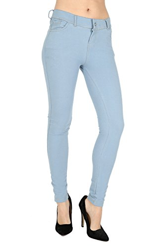 Skinny Womens Jeans Stretchy Jeggings Ladies New Fit Coloured Trousers Size 8 10 12 14 16 (12, SKY BLUE)