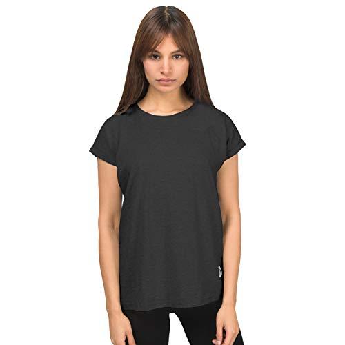urban ace | Basic T-Shirt, Loose fit | für Damen, Frauen | Freizeit, Sport | locker geschnitten | aus 95% Baumwolle (Charcoal, XL) -