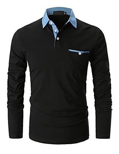 GHYUGR Poloshirts Herren Basic Langarm Baumwolle Polohemd Denim Nähen Golf T-Shirt S-XXL,Schwarz,XXL