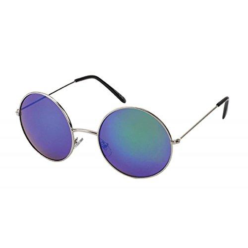 Sonnenbrille große Round Glasses John-Lennon-Style 400 UV Metall verspiegelt grün-blau
