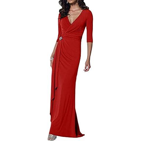Toskana novia estilo completo V de pico Noche de gasa Vestidos Largo novia Vestidos de Fiesta en Ball rojo