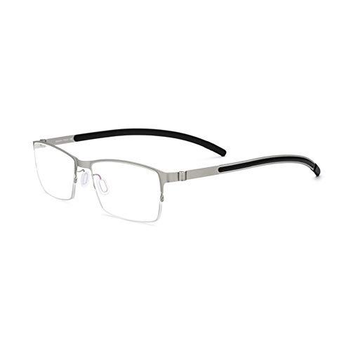 Z&HA Rechteckiger Brillengestell für Herren/Halbrahmen/Titanlegierung/Brillengestell ohne Rezept, Ultraleicht,Silverframe