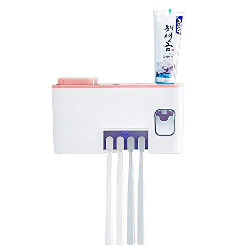 leegoal UV Zahnbürstenhalter Wand montiert, 4 Zahnbürste Sanitizer Organisator mit automatischer Zahnpaste Squeezerspender & 2 Tassen für Kinder Baby-Frauen Dusche Bad (Zahnbürste Sanitizer Uv)
