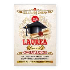 Biglietto auguri laurea pergamena