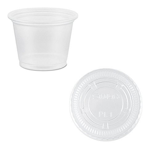 Solo Disposable Plastic 1 Oz Cups with Lids - Jello / Souffle / Portion Cups #PLN100 (2,500) by SOLO Portion Case Pack