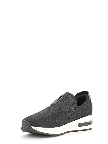 CAF NOIR DA903 chaussures noires femme sheakers faible glissement sur élastique Nero