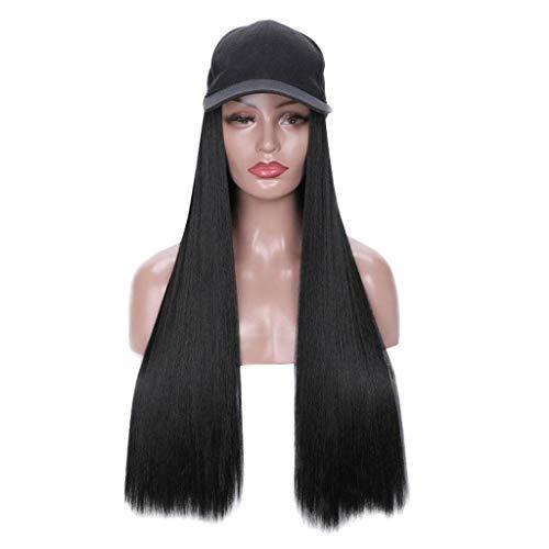 ToDIDAF Schwarze Kapuzenperücken für Damen, Lange gerade Perücke mit Mütze, Langes Haar mit Baseballmütze, Freizeithut mit Perücke, 30 Zoll (Ken Halloween-kostüme-barbie Und)