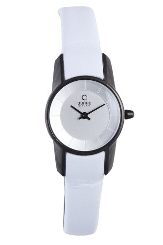Obaku by Ingersoll ladies silver dial white leather strap watch